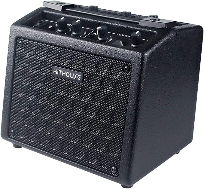 Amazon.com: Kithouse B9 Electric Guitar Amp Mini Rechargeable Guitar Amplifier Portable Microphone Speaker with 18 Types Drum Beats, Microphone & AUX Input, Headset Output: Musical Instruments