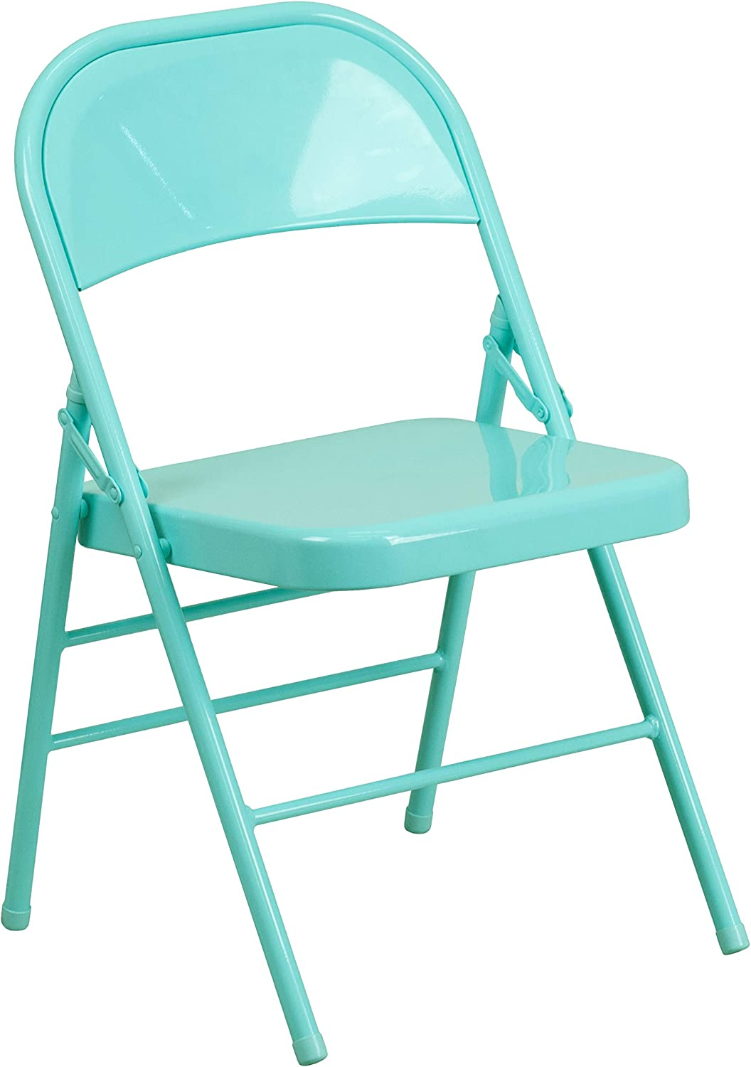 Flash Furniture HERCULES COLORBURST Series Tantalizing Teal Triple Braced & Double Hinged Metal Folding Chair