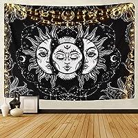 Tapiz de Pared Indio Sol y Luna Tapiz Tarot Sol Ardiente Tapiz Psicodélico Celestial Colgante Pared Celeste Tapices de…