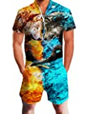 Leapparel Mens 3D Cool Wolfs Jumpsuit Rompers