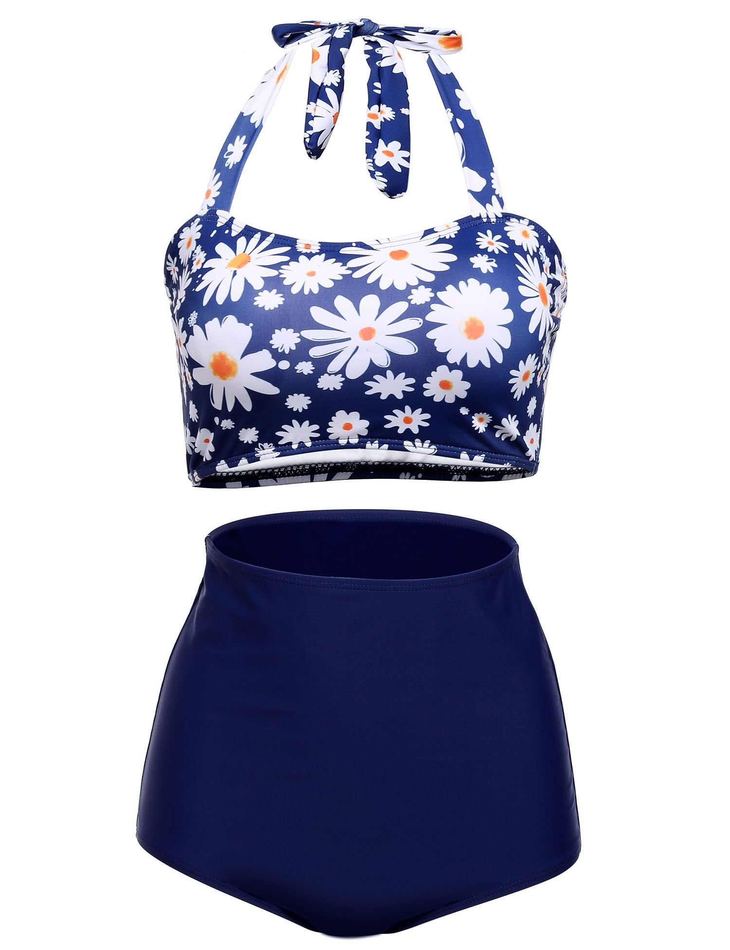 Women Plus Size Vintage Swimsuits High Waisted Bikinis Bathing Suits Retro Halter Underwired Top