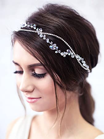 Amazon Com Yean Wedding Hair Vine Headband Silver Rhinestone