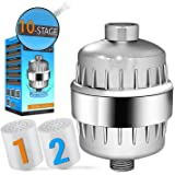 CaptainEco 10-Stage Shower Filter with 2 Replacement Cartridges Universal Chrome Finish with Bonus Teflon tape SF001 module