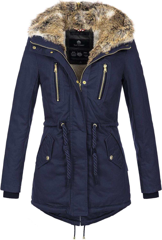 Navahoo warme Damen Winter Jacke lang Teddyfell Winterjacke Parka Mantel B648