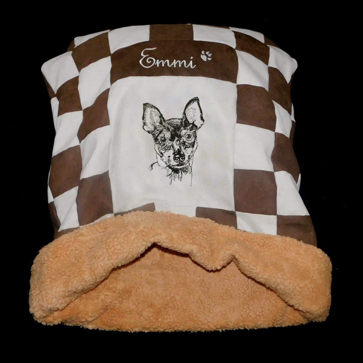 LunaChild Hunde Kuschelhöhle Hundebett Toy Fox Terrier Name Snuggle Bag Größe S M Loder XL in vielen Farben erhältlich