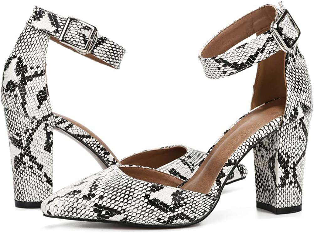 Women's Strap Heels Elegant D'Orsay Closed Pointed Toe Pumps Block Chunky High Heel Court Shoes X9 Snake Pu
