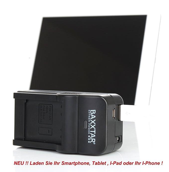 Baxxtar RAZER 600 II 5en1 Cargador - para Nikon EN-EL3 y EN-EL3e - entrada de MicroUSB y salida USB, para recarga de otros dispositivos móviles