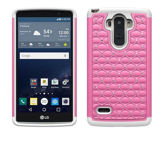 newest e29b2 3976b LG G Stylo Case (T-Mobile, Sprint, MetroPCS, Boost Mobile) Case, Pink on  White Skin Diamond Shock Proof Defender Bling Protector Hybrid