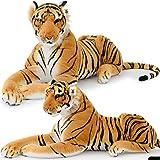 Peluche Tigre XXL 136cm couché - imposante réaliste douce et soyeuse