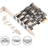 Ubit Expansion Card,5Gbps USB Superspeed PCI Express to 4-Port USB 3.0 PCI-E Expansion Card with 15-Pin SATA Power Connector, Supported UASP for PC Desktops Windows 7/8/8.1/10/XP/Vista