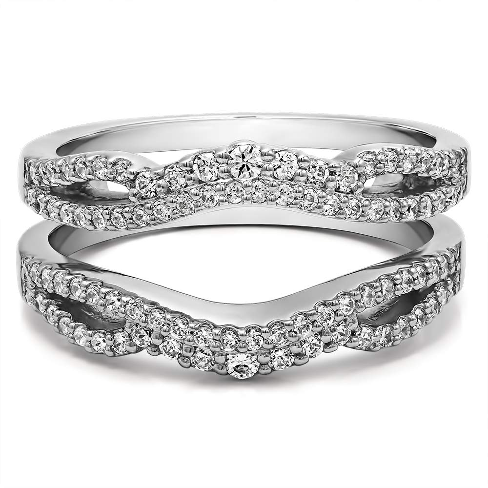 TwoBirch 0.57 Ct. Double Infinity Wedding Ring Guard Enhancer in Sterling Silver with Cubic Zirconia (Size 8) by TwoBirch