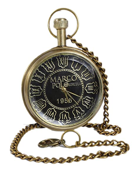 Caso hueco retro antiguos números romanos metal del dial del reloj de bolsillo de bronce - 4,6 cm: Amazon.es: Relojes