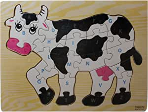 Wooden Puzzle Cow Shape and Letters, Zkb070 For Unisex, Multi Colors