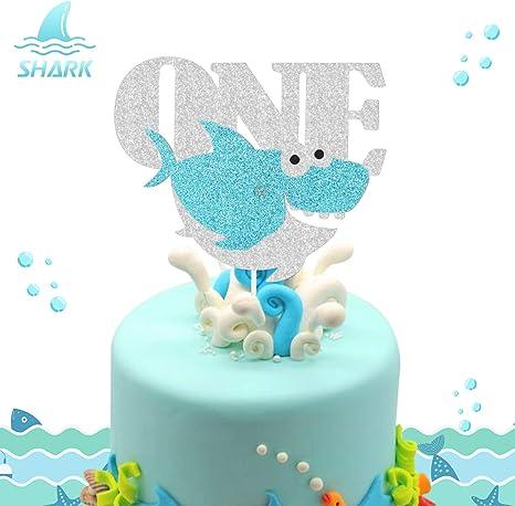 Brilliant Amazon Com Shark One Birthday Cake Topper Ocean Animals Themed Funny Birthday Cards Online Inifofree Goldxyz