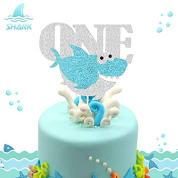 1st Birthday Cake Boy.Shark One Birthday Cake Topper Ocean Animals Themed First 1st Boy Birthday Baby Shower Little Kid Party Supplies Glitter Decorations