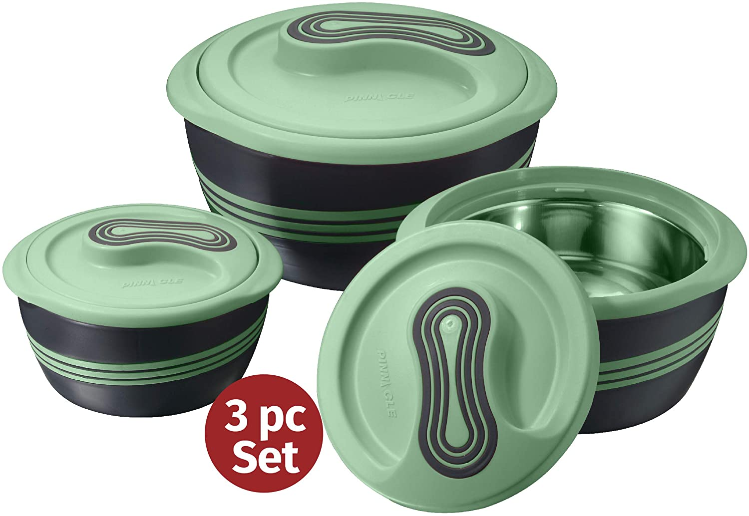 Pinnacle Serving Salad/Soup Dish Bowl - Thermal Inulated Bowl with Lid - Great Bowl for Holiday, Dinner and Party ~ Set of 3 ~ Green