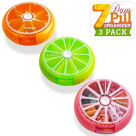 Organizador diario de píldoras - Cajas de medicamentos semanal de 7 días con compartimientos automáticos y botón pulsador, ideal para organizar sus ...