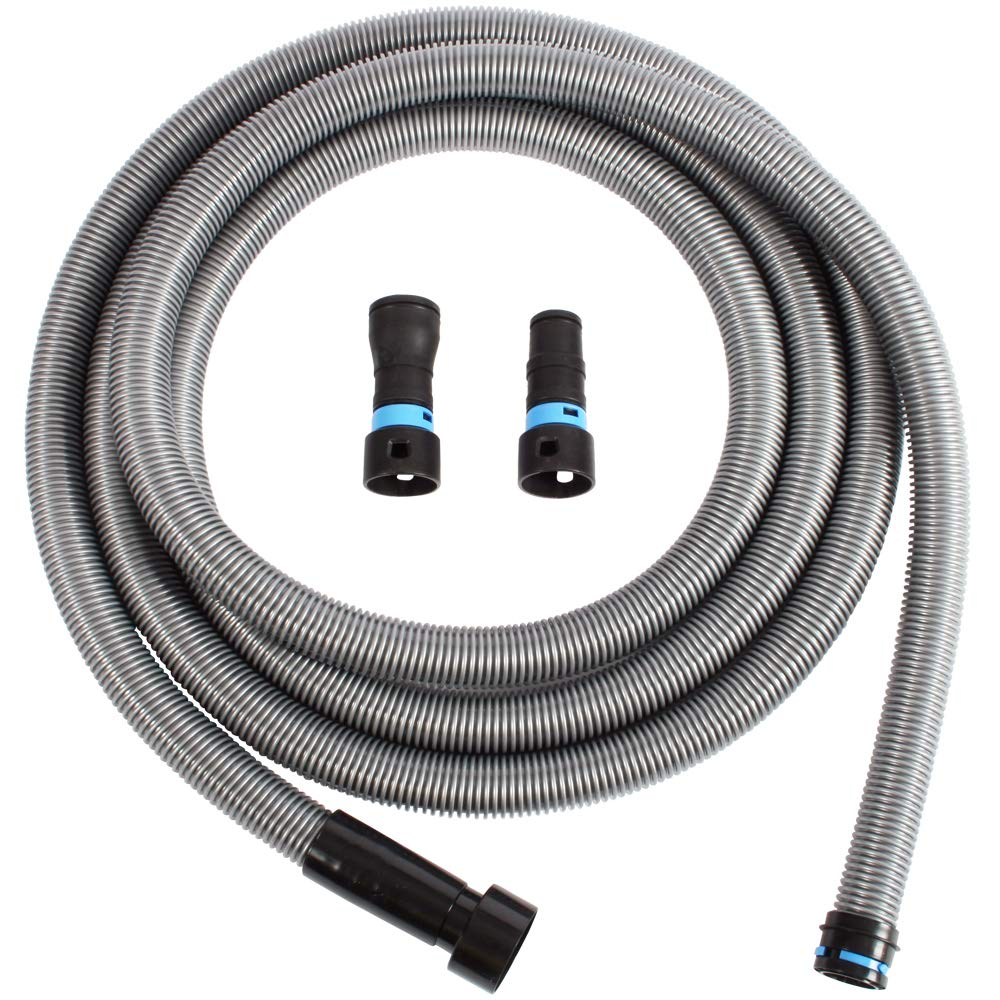 Cen-Tec Systems 94126 20 Ft. Hose for Home and Shop Vacuums with Universal Power Tool Adapter for Dust Collection, Silver