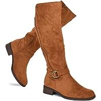 Premier Standard - Women's Fashion Comfy Suede Elastic Block Heel - Sexy Knee High Boots- Easy Heel