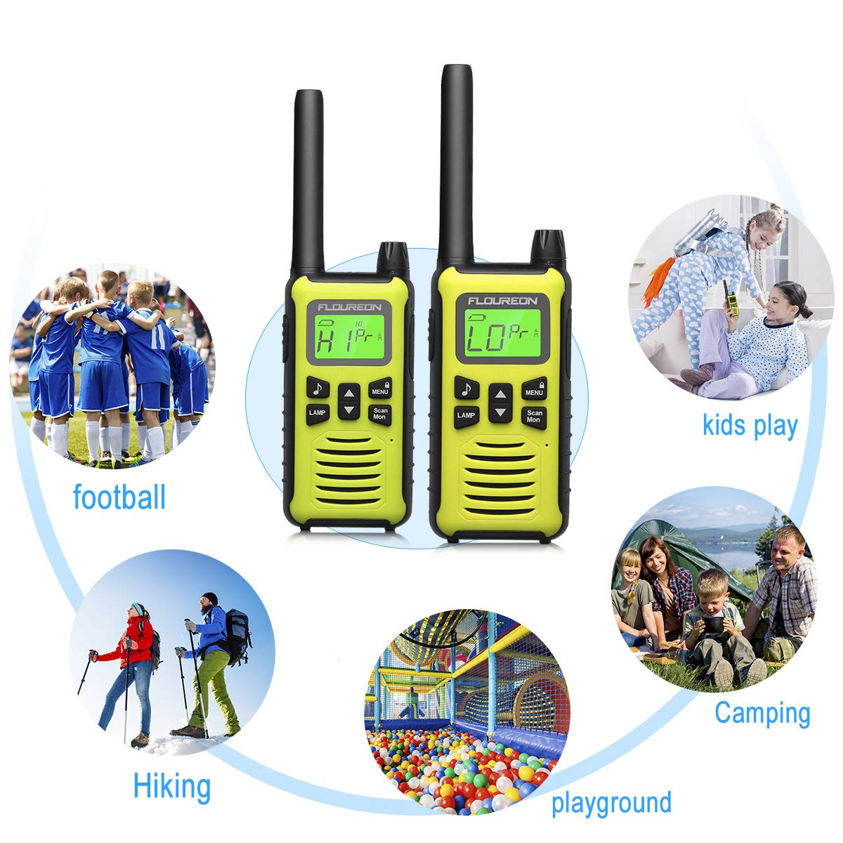 FLOUREON 4 Packs Walkie Talkies Two Way Radios 22 Channel 3000M (MAX 5000M Open Field) Long Range Handheld Talkies Talky (Yellow) by floureon (Image #8)
