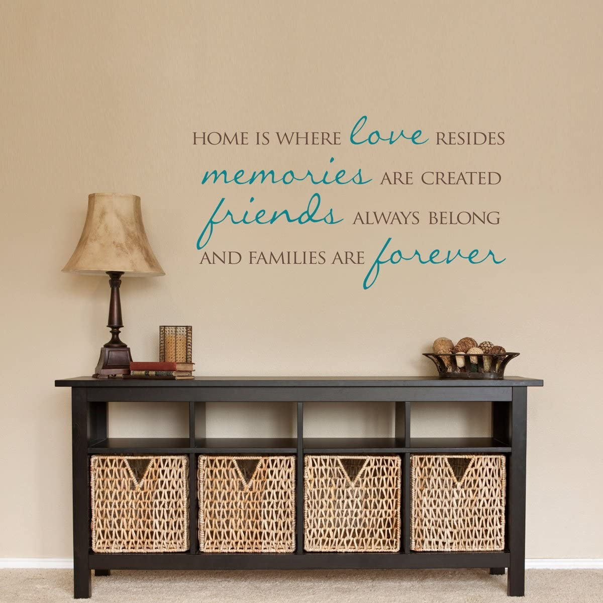 Tamengi Home Wall Decal Home is Where Love Resides Families are Forever Quote Wall Sticker 30inch