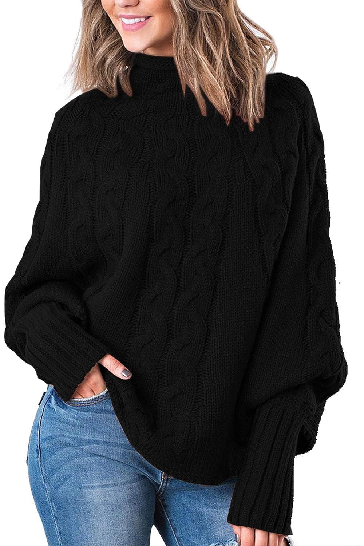 c36e9656b6 Fixmatti Women Mock Neck Batwing Sleeve Pullover Loose Knit Sweater Top at  Amazon Women s Clothing store