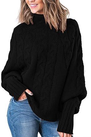 561332765d Fixmatti Women s Pullover Sweater Cowl Neck Dolman Sleeve Knit Tops Black S