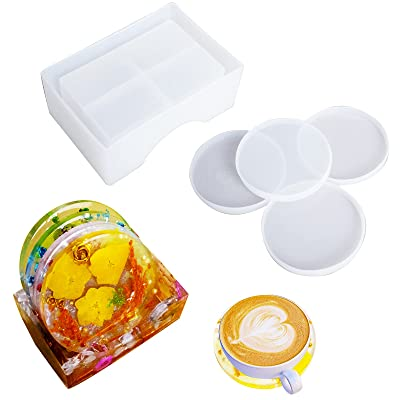 4x Silicone Coaster Mat Storage Holder Set Resin Casting Molds Epoxy Mould Tools