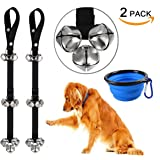 Dog Doorbells for Dog Training - CATOOP Adjustable Door Bell for Puppy with Collapsible Travel Pet Cat Dog Bowl
