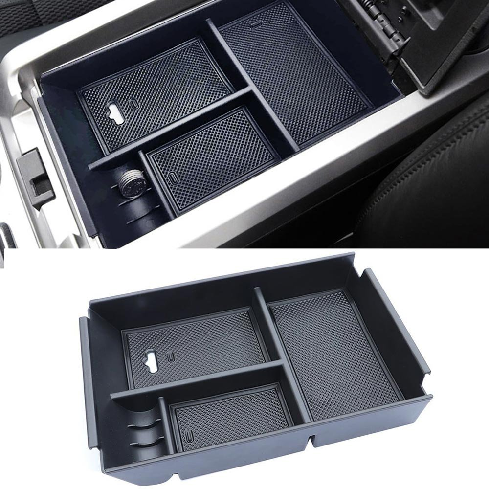 Autou Black Center Console Armrest Storage Box Organizer Tray for Ford Raptor 2013 2014 Accessories