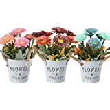 HOTLIKE Flores Artificiales Decoración, 3Pcs Plantas Artificiales de Maceta, Mini Artificiales Plastico Decorativas…