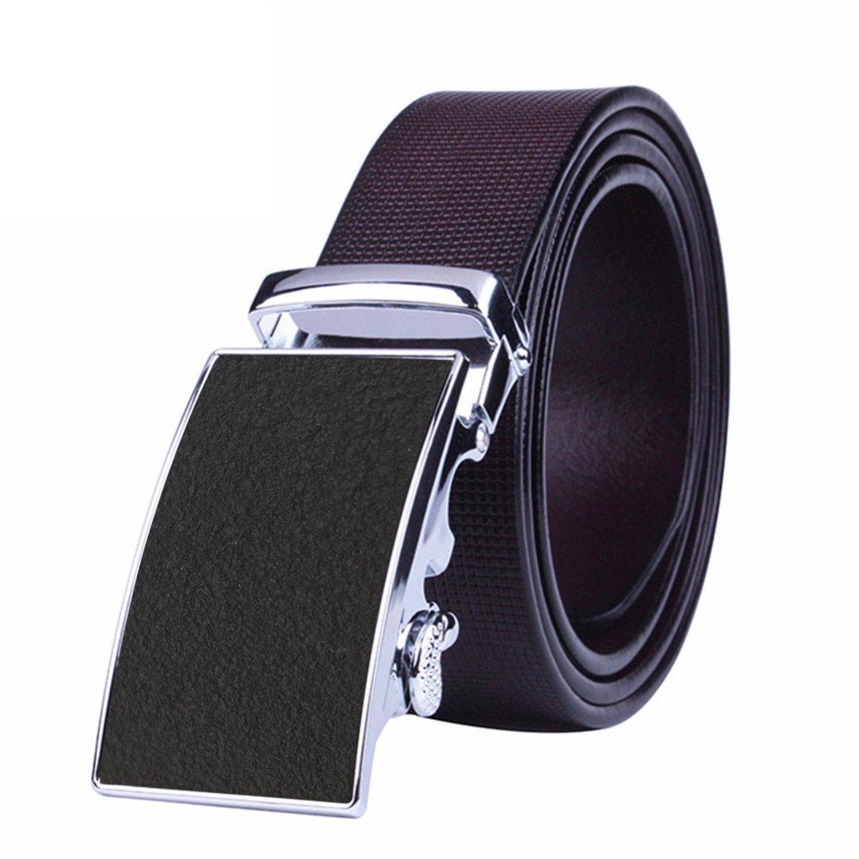 Automatic Buckle Men's Belt Genuine Luxury Leather Belt Brown Belts For Men COFFEE 105cm