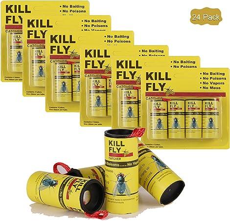 GRAMONI Fly Paper,Sticky Fly Ribbons Green-24 Fly Catcher Ribbon,Fly Paper Strips