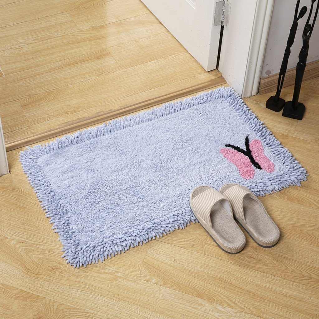 Non-slip Water-absorbing Bathroom Mats Bedroom Bedside Rugs Living Room Sofa Cushions Color : A, Size : 45 * 70cm XUANLAN Household Cotton Rugs