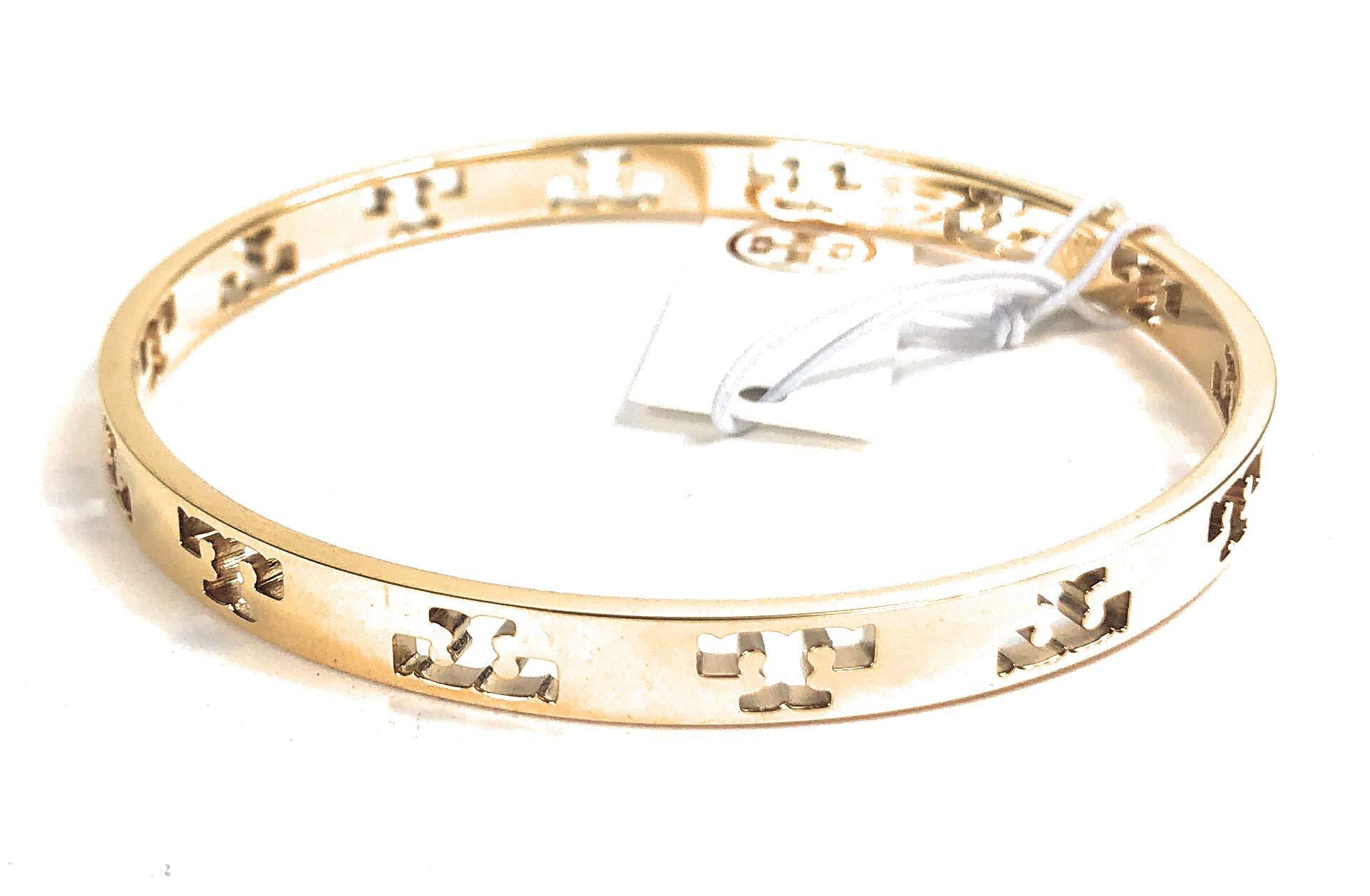 Tory Burch Pierced T Bangle Bracelet Goldtone