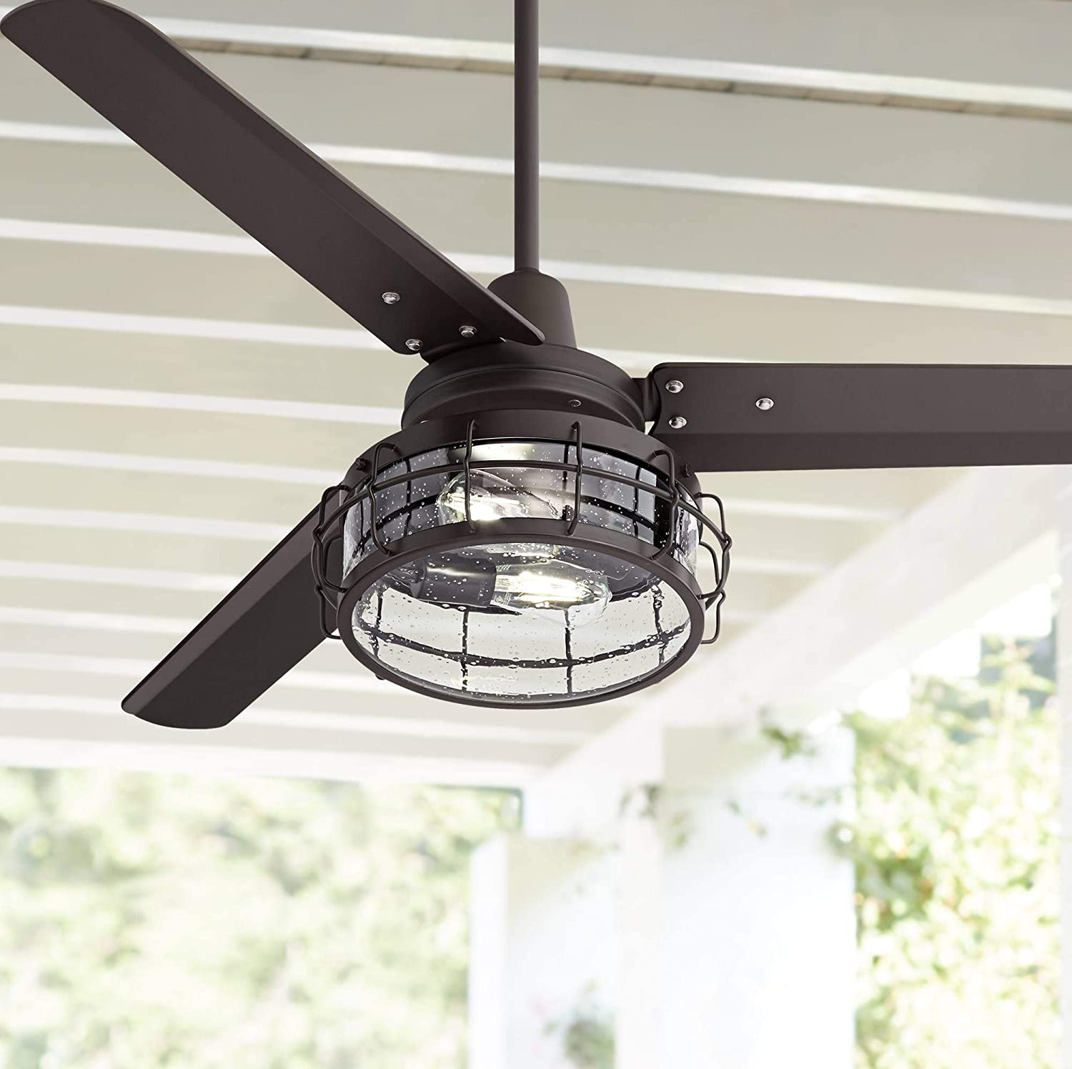 52 Plaza Industrial Ceiling Fan with Light LED Remote Control Oil Rubbed Bronze Clear Seedy Glass for Living Room Kitchen Bedroom Family Dining – Casa Vieja