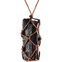 Black Tourmaline Crystal Necklace Hand Braided Chakra Charm Necklace for Women Men