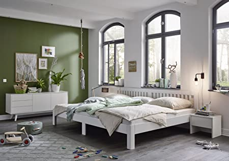 Ecolignum | Familienbett Como (#350270) | 270x200 Cm. | Massivholzbett Erle  Vollholz | Weiß | Super Size Bett: Amazon.de: Küche U0026 Haushalt