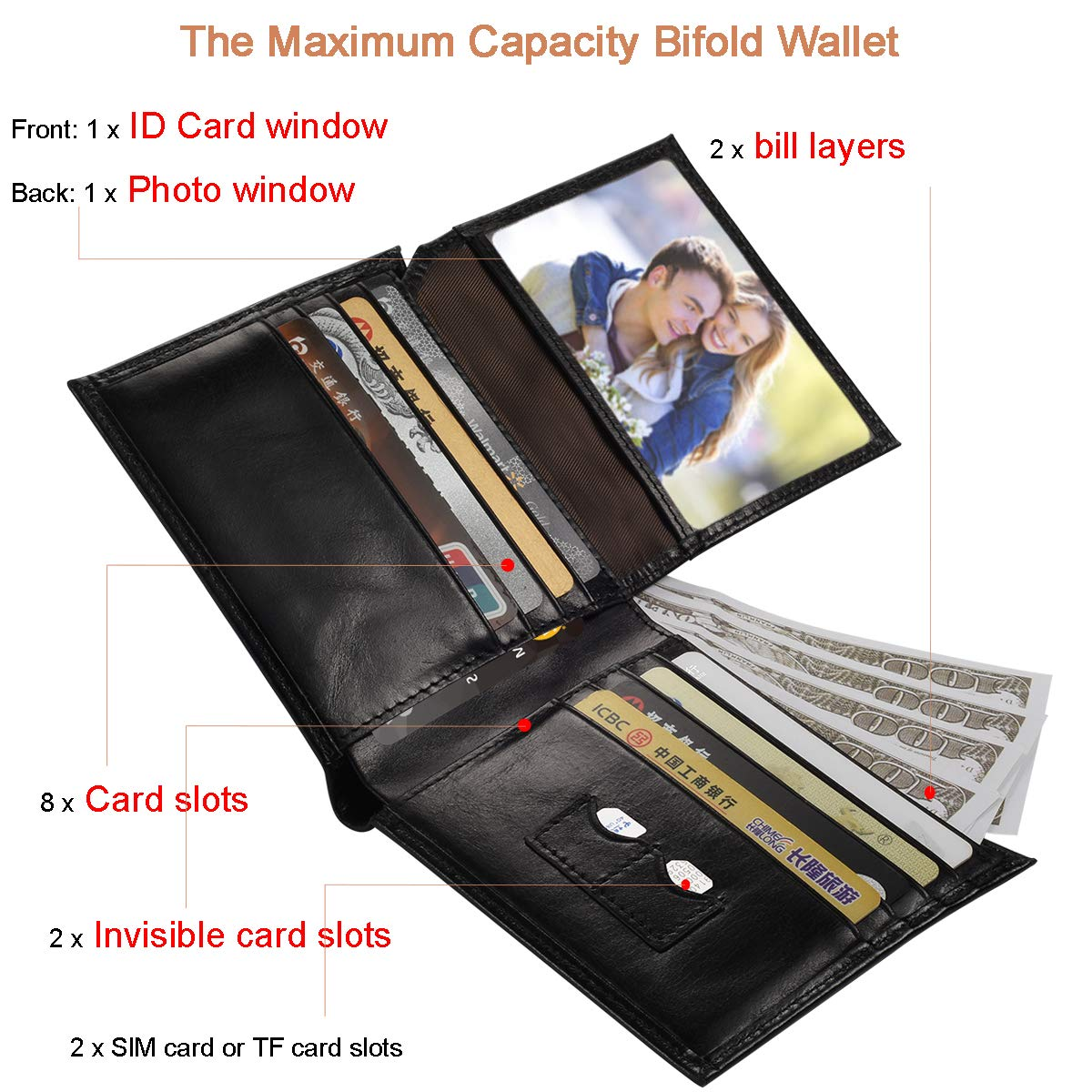 LAFENI Bifold Wallet,Mens Genuine Leather RFID Blocking Wallet with ID Window