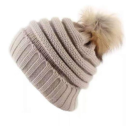 e1840c6ca24 Bess Bridal Women s Knit Slouchy Baggy Hat with Pompom Winter Soft Warm Ski  Cap