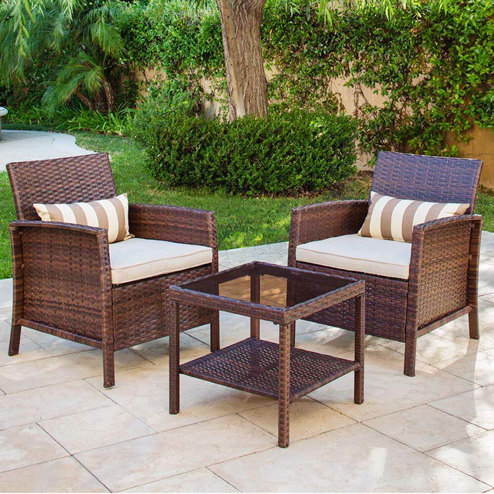 SOLAURA 3 Pieces Outdoor Furniture Brown Wicker Bistro Set Light Brown Cushions with Classic Gold Stripe Throw Pillows and Coffee Table