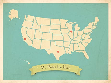 Amazon.com: My Roots USA Personalized Wall Map 24x36 Inch Canvas ...