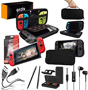 Switch Accessories Bundle - Orzly Essentials Pack for Nintendo switch Case & Screen Protector, Grip Case, Games Holder, Headphones - Classic Black Edition