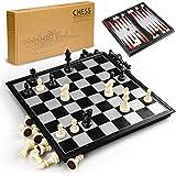 Gibot 3 en 1 Tablero de ajedrez,31.5CM x 31.5CM Tablero de Ajedrez Magnético con Ajedrez,Verificadores,Backgammon para…