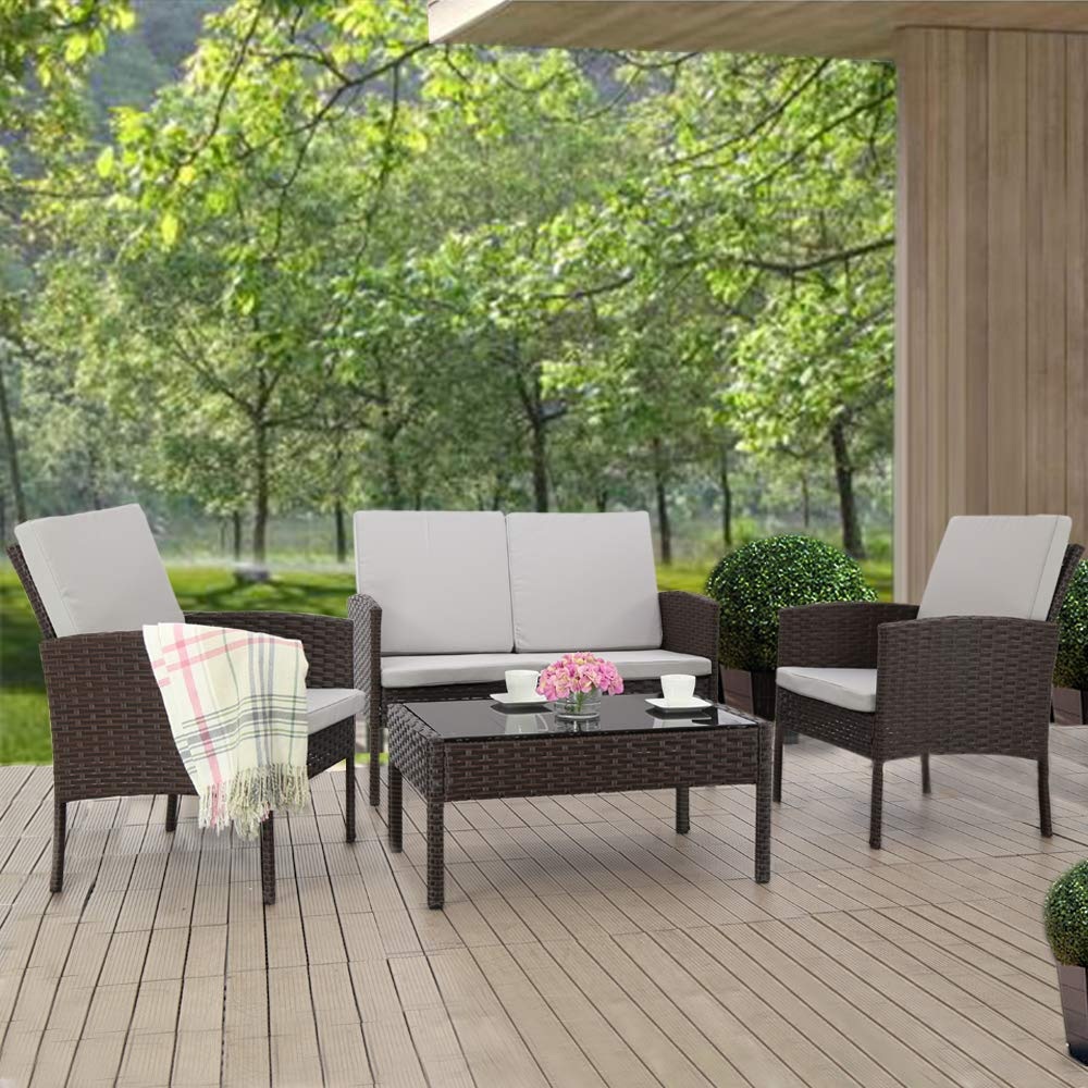 JH605 Patio Furniture Set 4pcs Outdoor Conversation Set Rattan Garden Lawn Sofas Wicker Chairs Loveseat with Cushion