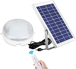 Solar Lights Indoor Home Intelligent Solar LED Ceiling/Pendant Light with Remote Control, Integrated Cool White/Warm White Switchable 1000Lumen Outdoor Solar Barn Light for Shed, Porch, Patio, Garage