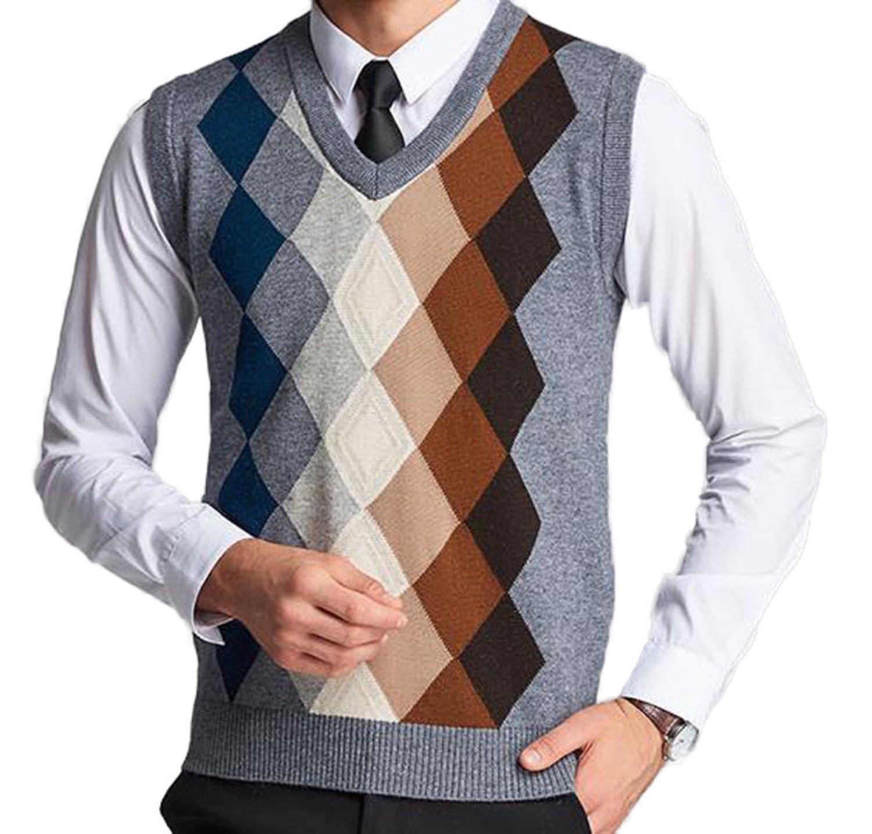 DD.UP Men's Slim Fit Argyle Plaid V-Neck Sweater Vest