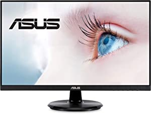 "ASUS VA24DQ 23.8"" Monitor, 1080P Full HD, 75Hz, IPS, Adaptive-Sync/FreeSync, Eye Care, HDMI DisplayPort VGA, Frameless, VESA Wall Mountable"
