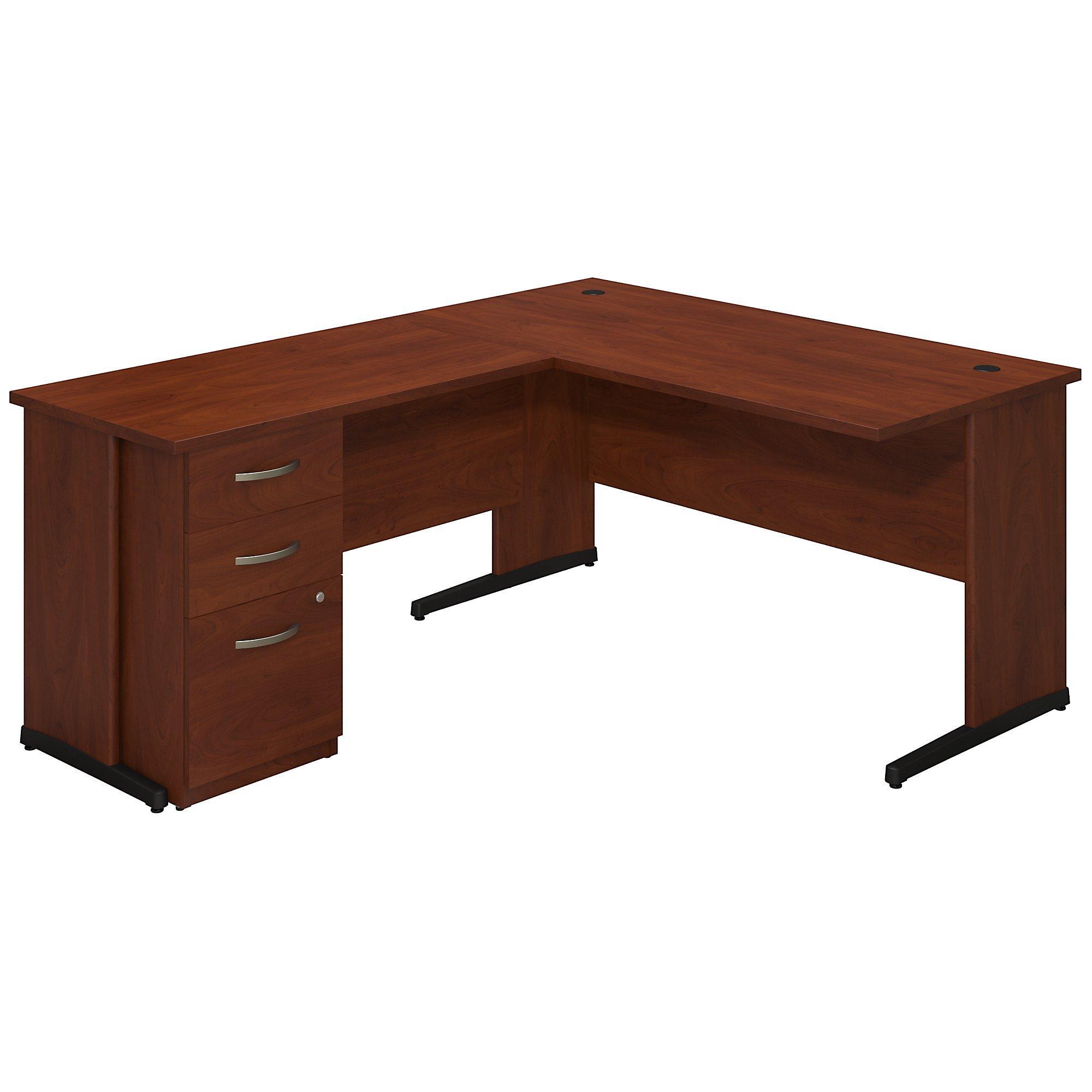 Bush Business Furniture Series C Elite 60W x 30D C Leg L Shaped Desk with Storage in Hansen Cherry by Bush Business Furniture