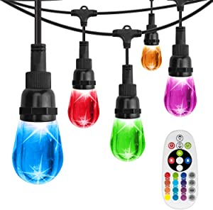 AREOUT Color Changing String Lights with 18 Impact Resistant Acrylic Bulbs,36FT, Heavy Duty LED Outdoor String Lights Cafe Lights,Commercial Grade, Weatherproof, Wireless Remote Control Included